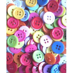 Lot de 20 boutons acrylique - multicolore - 15 mm - rond