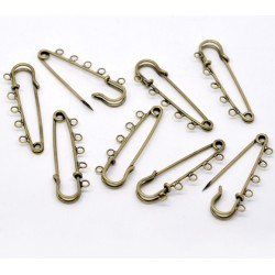 Lot de 5 supports broches épingles - métal bronze