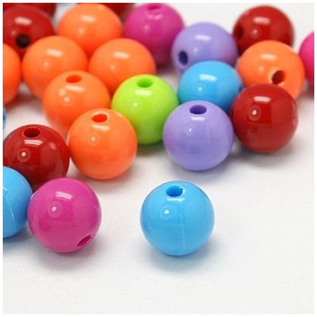 Lot de 25 perles multicolores
