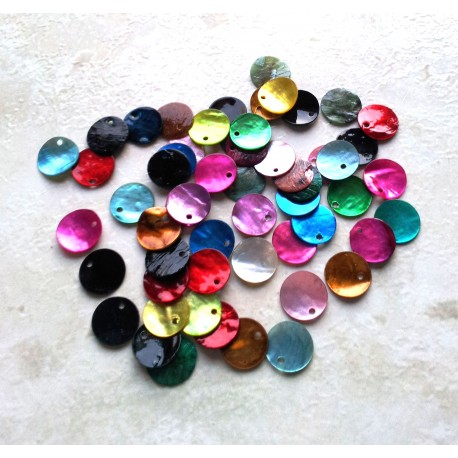 Lot de 20 sequins en nacre - multicolore