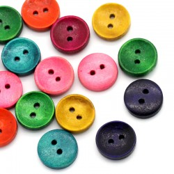 25 boutons en bois ronds - 15 mm multicolores