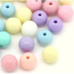 Lot de 500 perles rondes - pastel - 5 mm