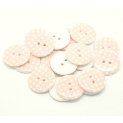 Lot de 10 boutons roses à pois blancs - 23 mm